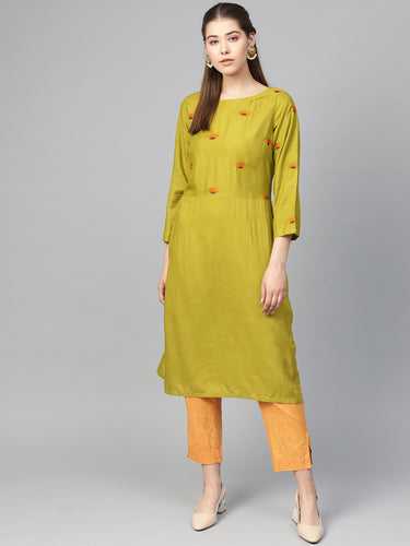 Jompers Women Green Yoke Design Straight Kurta