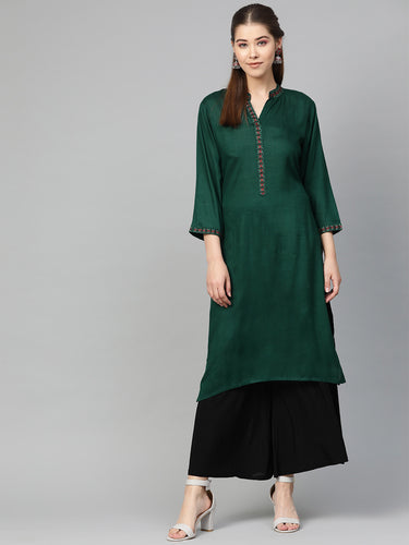 Jompers Women Green Embroidered Straight Kurta