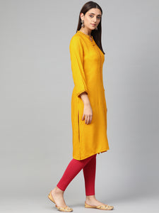 Jompers Women Mustard Embroidered Straight Kurta