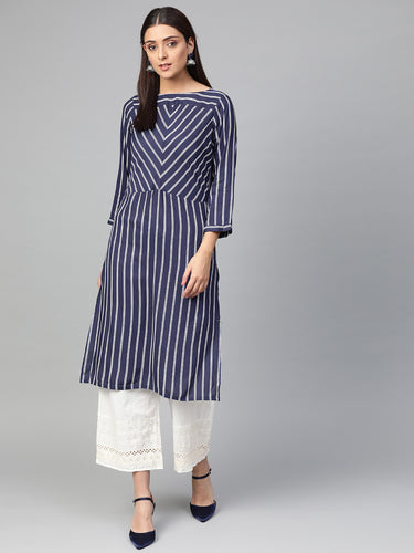 Jompers Women Navy Blue & White Striped Straight Kurta