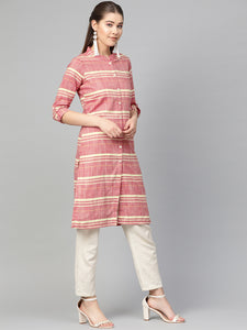 Jompers Women Red & Yellow Self-Striped Straight Kurta