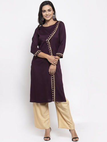 Jompers Women Purple Embroidered Straight Kurta