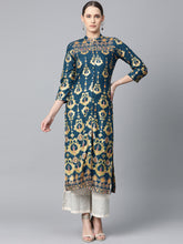 Load image into Gallery viewer, Jompers Women Teal Blue & Fluorescent Green Printed Straight Kurta