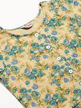 Load image into Gallery viewer, Jompers Women Beige & Blue Floral Printed A-Line Kurta