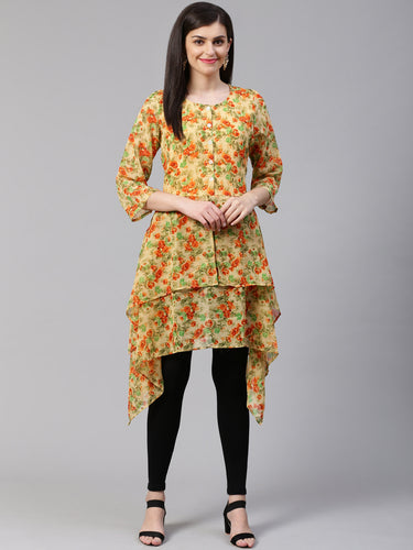 Jompers Women Beige & Orange Floral Printed A-Line Kurta