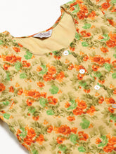 Load image into Gallery viewer, Jompers Women Beige & Orange Floral Printed A-Line Kurta(JOK 1322 Orange)