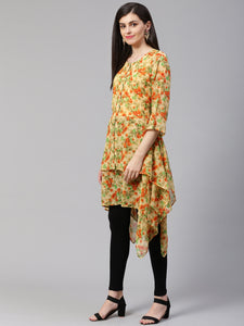 Jompers Women Beige & Orange Floral Printed A-Line Kurta(JOK 1322 Orange)