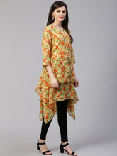 Load image into Gallery viewer, Jompers Women Beige & Orange Floral Printed A-Line Kurta