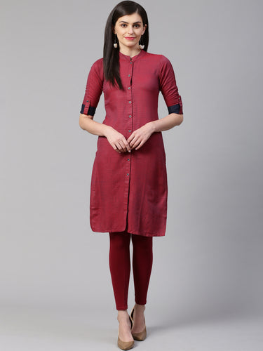 Jompers Women Maroon & Blue Woven Design Straight Kurta