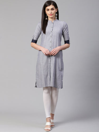Jompers Women Grey & Blue Jacquard Woven Design Straight Kurta