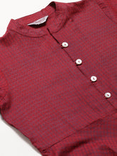Load image into Gallery viewer, Jompers Women Maroon Woven Design Jacquard Weave A-Line Kurta