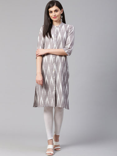 Jompers Women Grey & Cream-Coloured Ikkat Woven Design Straight Kurta