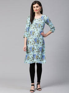 Jompers Women Blue & Green Floral Print Straight Kurta