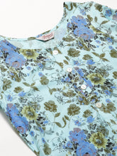 Load image into Gallery viewer, Jompers Women Blue & Green Floral Print Straight Kurta