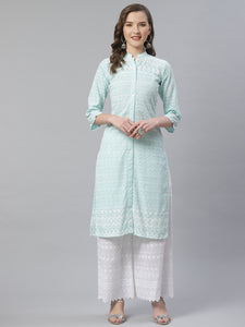 Women Sky Blue & White Chikankari Embroidered Kurta with Palazzos ( JOKPL C-W 1351 Lime )