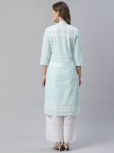 Load image into Gallery viewer, Women Sky Blue & White Chikankari Embroidered Kurta with Palazzos ( JOKPL C-W 1351 Lime )