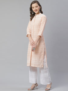 Women Peach & White Chikankari Embroidered Kurta with Palazzos