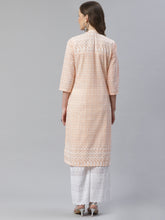 Load image into Gallery viewer, Women Peach & White Chikankari Embroidered Kurta with Palazzos