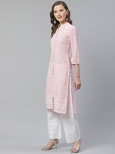 Load image into Gallery viewer, Women Pink & White Chikankari Embroidered Kurta with Palazzos