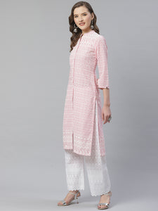 Women Pink & White Chikankari Embroidered Kurta with Palazzos ( JOKPL C-W 1351 Pink )