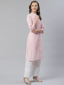 Women Pink & White Chikankari Embroidered Kurta with Palazzos