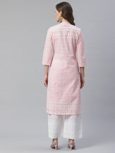 Load image into Gallery viewer, Women Pink & White Chikankari Embroidered Kurta with Palazzos ( JOKPL C-W 1351 Pink )