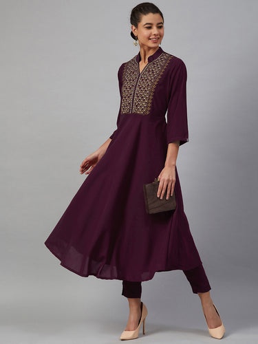 Jompers Women Purple Embroidered Yoke Design A-Line Kurta