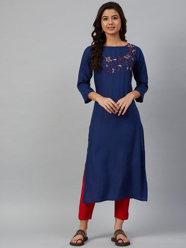 Jompers Women Blue & Pink Yoke Embroidered Straight Kurta