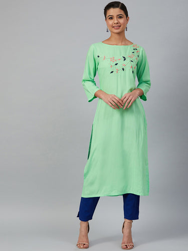 Jompers Women Green & Pink Yoke Embroidered Straight Kurta