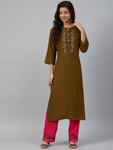 Jompers Women Olive Brown & Pink Yoke Embroidered Straight Kurta