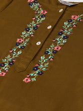 Load image into Gallery viewer, Jompers Women Olive Brown & Pink Yoke Embroidered Straight Kurta