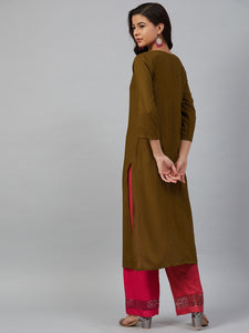 Jompers Women Olive Brown & Pink Yoke Embroidered Straight Kurta ( JOK 1355 Golden )