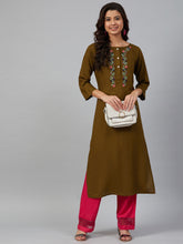 Load image into Gallery viewer, Jompers Women Olive Brown & Pink Yoke Embroidered Straight Kurta ( JOK 1355 Golden )