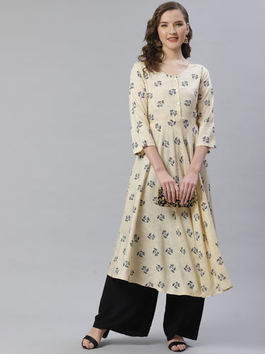 Jompers Women Off-White & Black Floral Printed A-Line Kurta