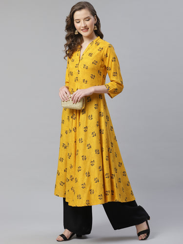 Jompers Women Yellow & Black Floral Printed A-Line Kurta