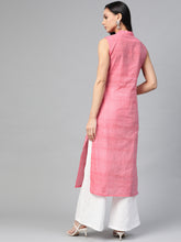 Load image into Gallery viewer, Jompers Women Pink Pure Cotton Woven Design Straight Kurta ( JOK 1366 Pink)