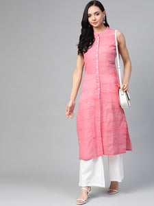 Jompers Women Pink Pure Cotton Woven Design Straight Kurta ( JOK 1366 Pink)
