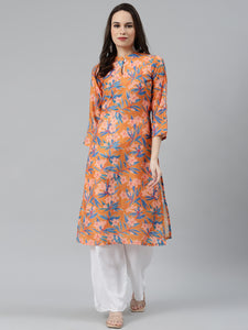 Jompers Women Orange & Blue Floral Printed Keyhole Neck Floral Kurta