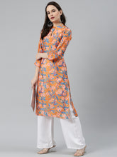 Load image into Gallery viewer, Jompers Women Orange & Blue Floral Printed Keyhole Neck Floral Kurta