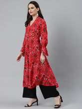 Load image into Gallery viewer, Jompers Women Coral Red & Black Ethnic Motifs Printed Angrakha Anarkali Kurta ( JOK 1374 Pink )