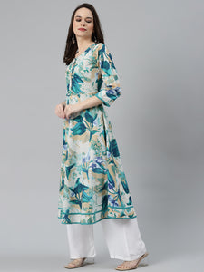 Jompers Women Off White & Blue Floral Printed Floral Anarkali Kurta