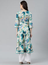 Load image into Gallery viewer, Jompers Women Off White & Blue Floral Printed Floral Anarkali Kurta