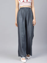 Load image into Gallery viewer, Jompers Women Grey Solid Straight Palazzos