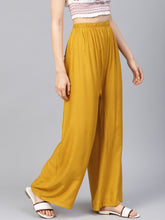 Load image into Gallery viewer, Jompers Women Mustard Solid Straight Palazzos