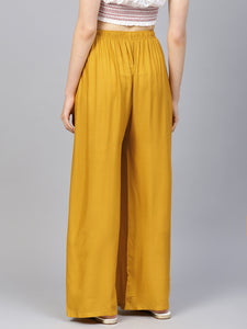 Jompers Women Mustard Solid Straight Palazzos