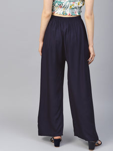 Jompers Women Navy-Blue Solid Straight Palazzos