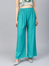 Load image into Gallery viewer, Jompers Women Rama-Green Solid Straight Palazzos