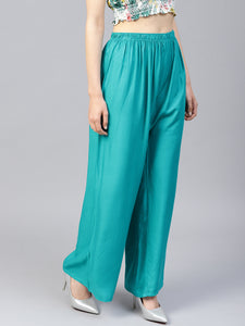 Jompers Women Rama-Green Solid Straight Palazzos
