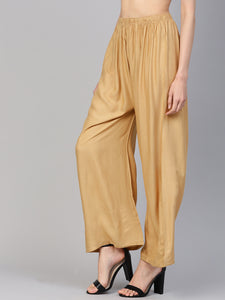 Jompers Women Beige Solid Straight Palazzos