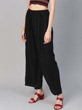 Load image into Gallery viewer, Jompers Women Black Solid Straight Palazzos